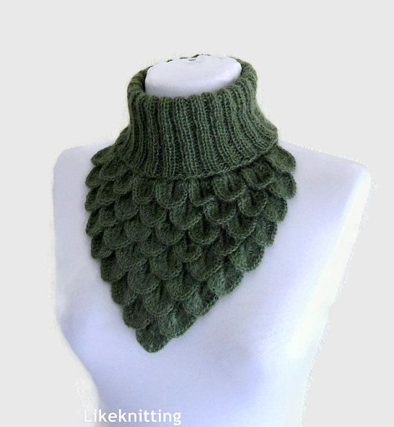 Crochet Neck Warmer Crocodile Scarf Neck Cowl by likeknitting