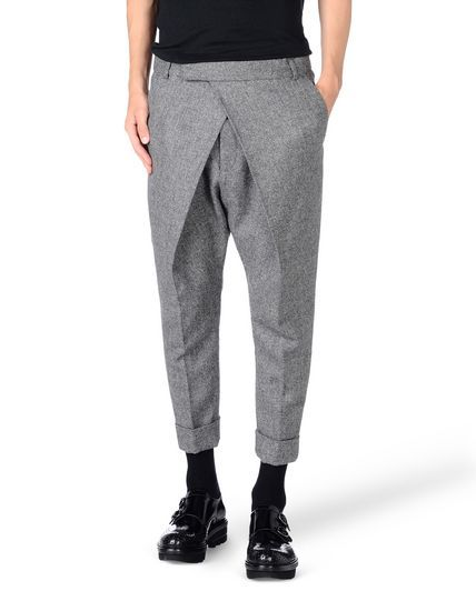 Cross-fronted grey slacks.  These are unusual but casual at the same time.