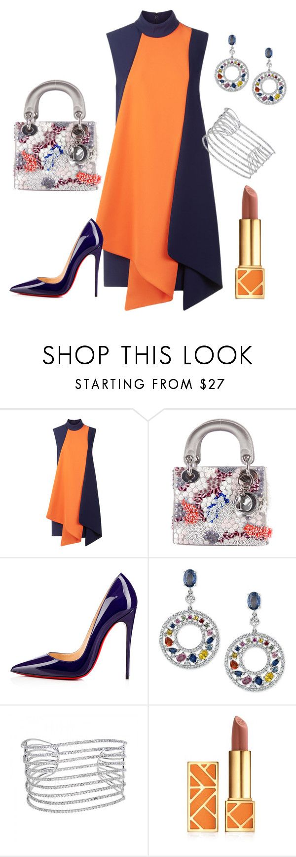 """Victoria Beckham Dress"" by arta13 ❤ liked on Polyvore featuring Victoria, Victoria Beckham, Christian Dior, Christian Louboutin, Allurez and Tory Burch"