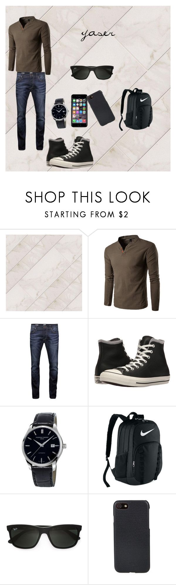 """""""."""" by yasser-151555 ❤ liked on Polyvore featuring Jack & Jones, Converse, Frédérique Constant, NIKE, Ray-Ban, Shinola, Off-White, men's fashion and menswear"""