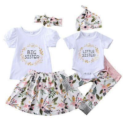 Newborn Kids Baby Girls Matching Sister Romper Shirt Tops+Pants Outfit Clothing Set