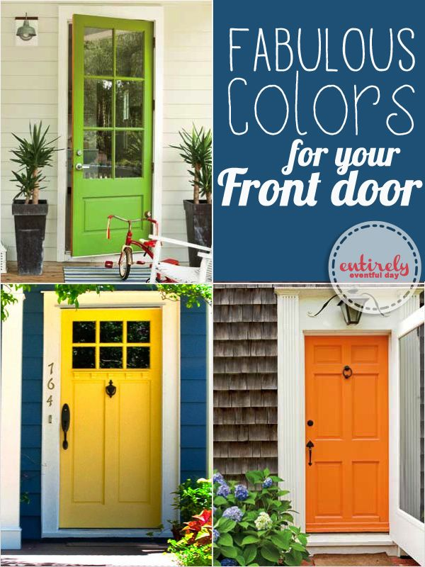 Cool front door paint ideas. Even gives actual paint name suggestions. Must pin. I will paint my front door some day.