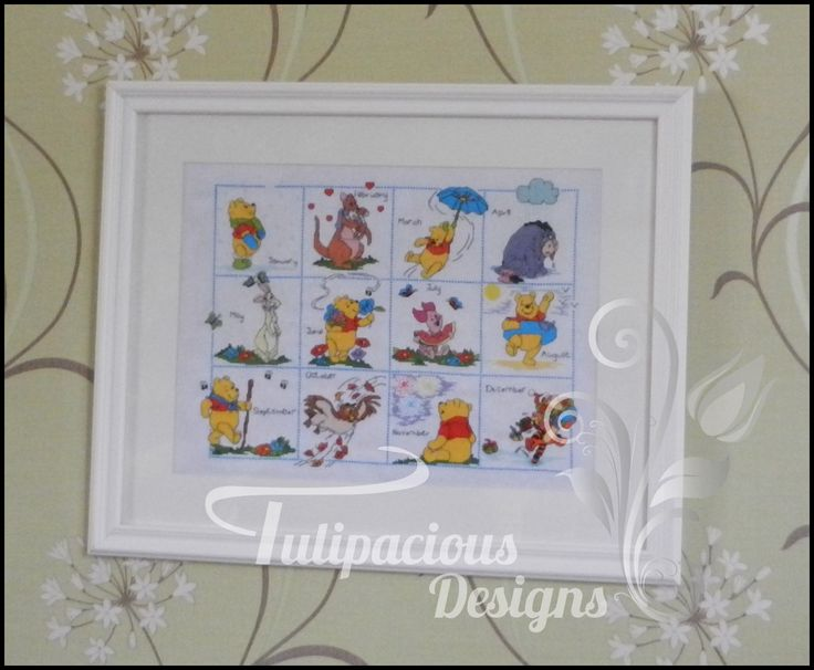 winnie the pooh calender cross stitched and framed by Tulipacious Designs.
