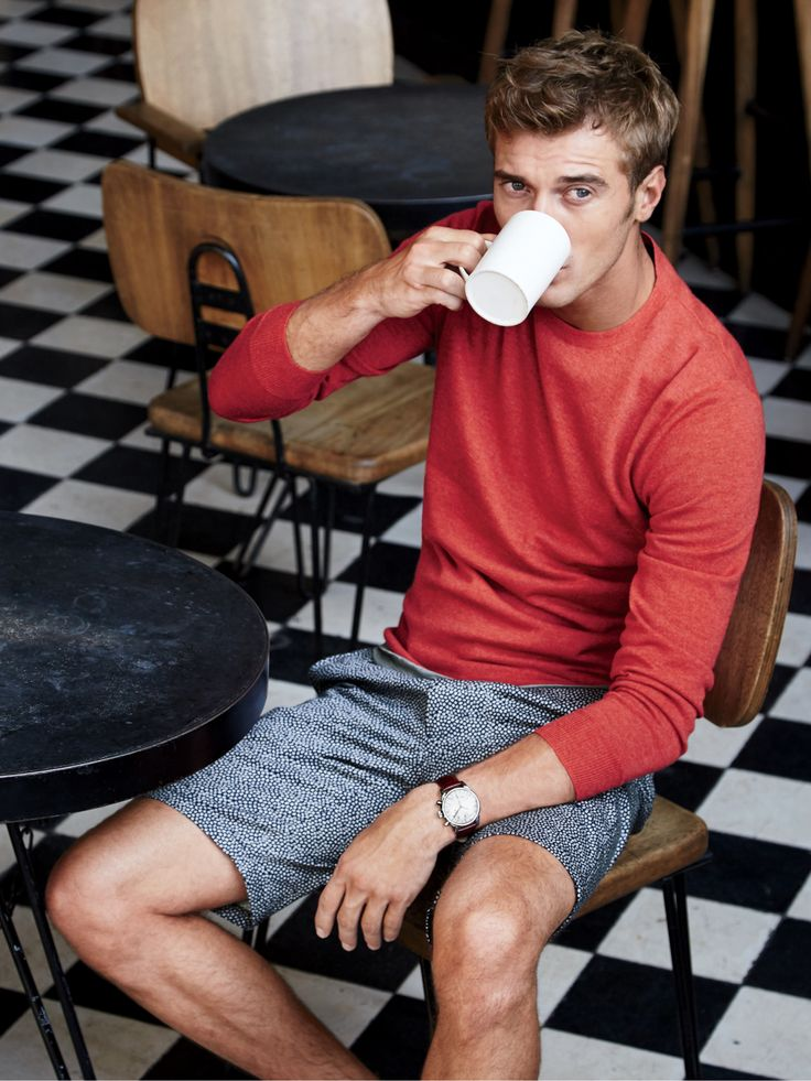 """J.Crew men's lightweight Italian cashmere crewneck sweater and 10.5"""" club short in ditsy floral."""