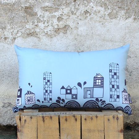 """A small town to see"" This rectangular soft pillow takes you through the waves to the magic city with its fantastic inhabitants. Handmade sweet gray houses, lost in the deep blue sky. Easily combined. It will be loved by all ages!"
