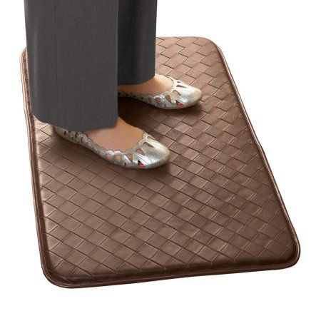 Buy Faux Leather Anti-fatigue Cushioned for Comfort Durable Non Slip / Anti Slip Mat, Brown at Walmart.com