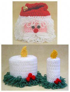 PS044 Christmas TP Toppers Crochet Pattern Crochet Pattern Christmas TP Toppers- The Christmas TP Toppers Crochet Pattern includes two holiday crochet patterns to cover toilet paper rolls. The set includes instructions for a Santa face toilet paper topper and candle topper.
