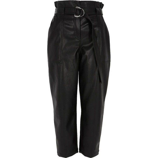 River Island Black faux leather paper bag waist pants ($90) ❤ liked on Polyvore featuring pants, black, tapered trousers, women, high waisted trousers, high rise pants, high waisted pants, fake leather pants and high-waisted trousers