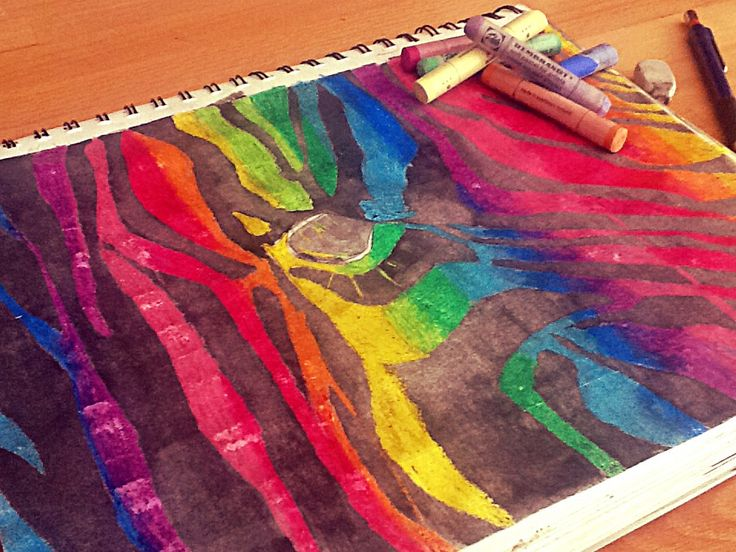 "Drawing by Emma Rock. ""Rainbow zebra"" leave suggestions for drawings to be posted in the comments!"