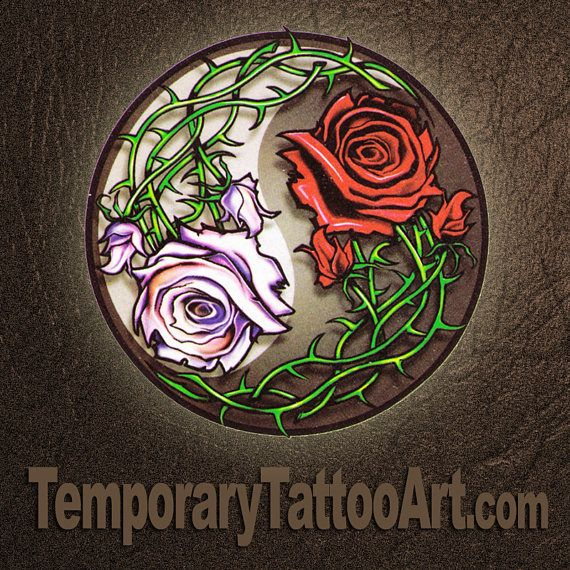 Rose YingYang Temporary tattoo - 2x2 inch