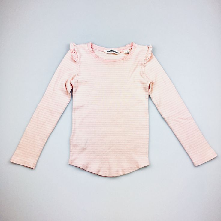 COUNTRY ROAD, pink and white striped long sleeved t-shirt, good pre-loved condition (GUC), girl's size 4, $9 #girlsfashion #kidsfashion #CountryRoad