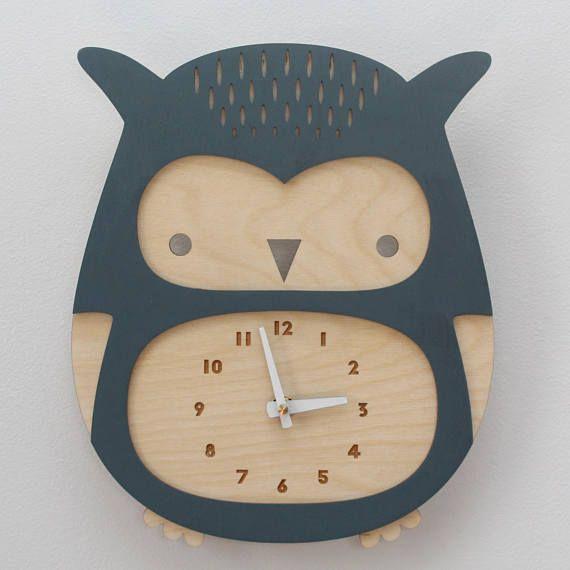 orologio gufo di legno, tema del terreno boscoso della • baby shower regalo • moderno vivaio di polveroso blu • arredamento