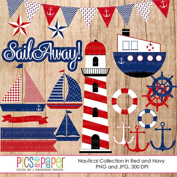 Nautical theme digital cliparts in red and navy blue- lighthouse, tugboat, sailboat- Instant download, CU, PNG on Etsy, $5.00