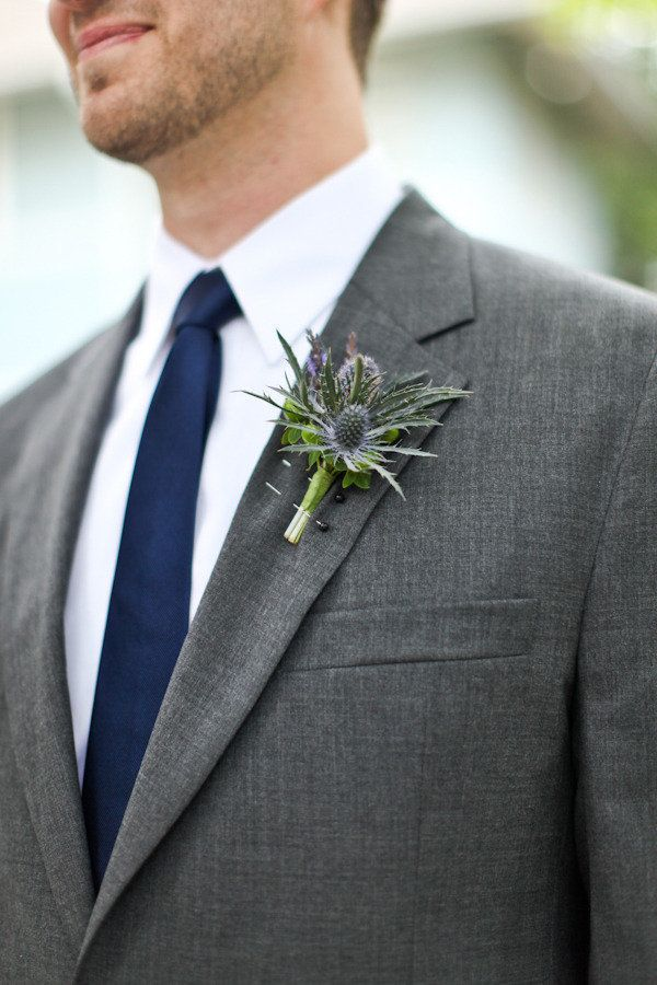 Blue tie with a grey Jos. A. Bank suit - very sophisticated!  Photography by cristinagphoto.com #wedding #suit