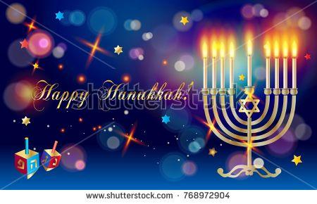 Hanukkah Festival of lights greeting card with menorah and traditional symbols, stars, dreidel, bokeh lights festive background. Jewish holiday chanukah decoration.
