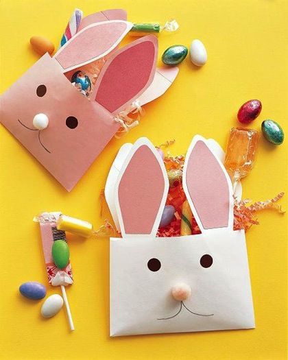 Super Easy To Make Treat Bags For EasterCrafts Ideas, Bunnies Envelopes, Bunnies Crafts, Easter Crafts, Easter Bunnies, Kids Crafts, Martha Stewart, Easter Bunny, Easter Ideas