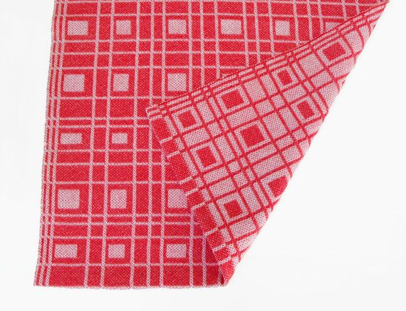 Cherry Red And White Tea Towel Hand Woven Kitchen By WovenBeauty