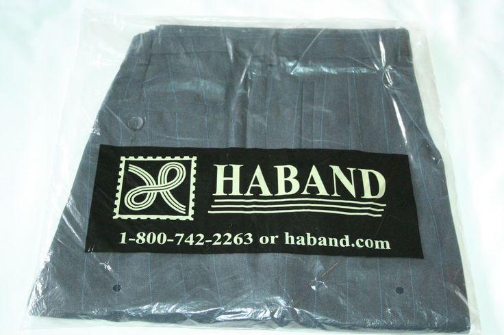 Mens Haband dress pants slacks navy blue pinstripe size 38 S New #Haband #DressPleat