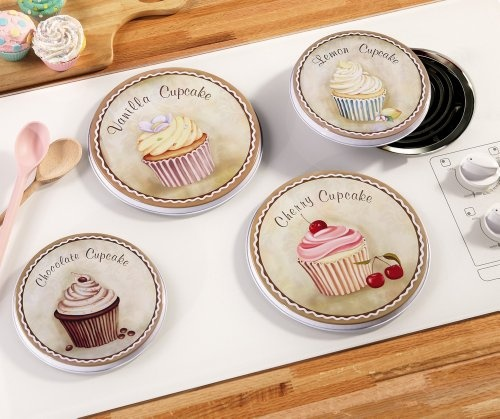 Cupcake Kitchen Decorative Stove Top Burner Cover Set By