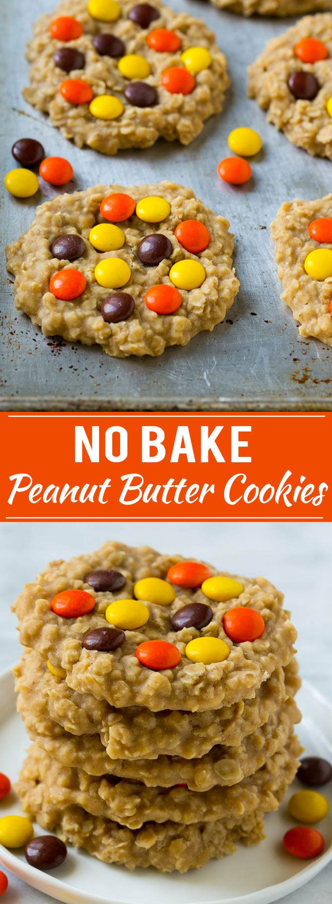 No Bake Peanut Butter oatmeal Cookies with peanut m&ms