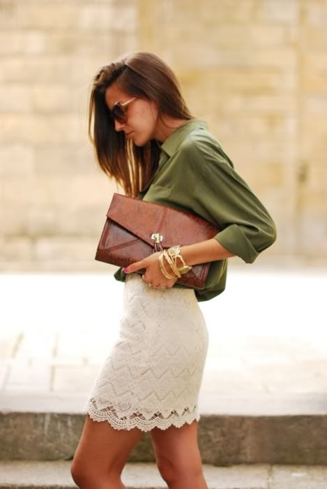 Olive Button-up, Textural Skirt, & Oversized Leather Clutch (source unknown)