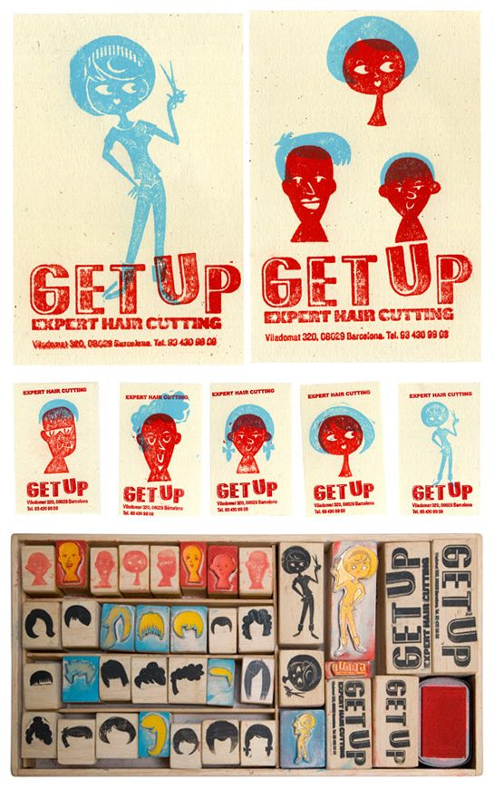 Client: Get Up Hair Identity  Designers: Alexis Rom Estudio  Description: The DIY nature of the stamping process allowed stylists to customize their identity materials in a wide variety of ways.