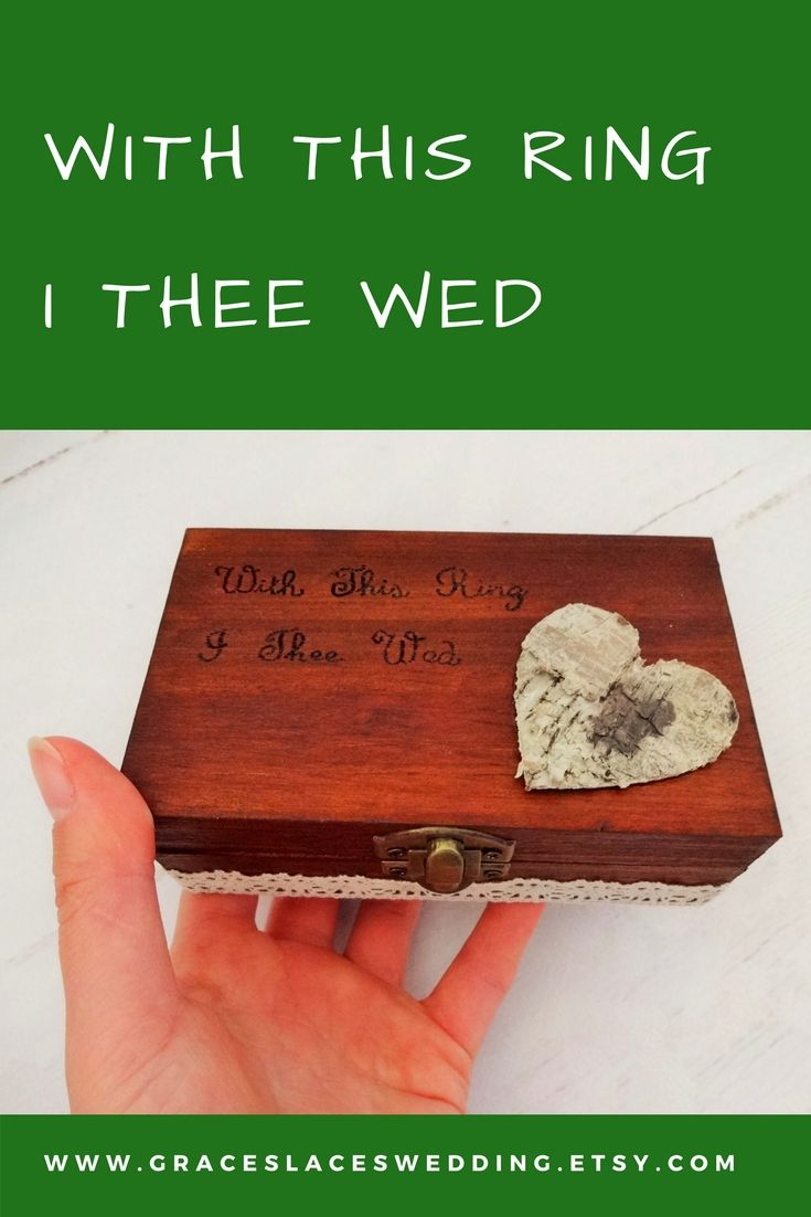 With this ring I thee wedd #doubleringbox #engraved #bohoringbox #ringbearerbox #rusticwedding #rusticringbox