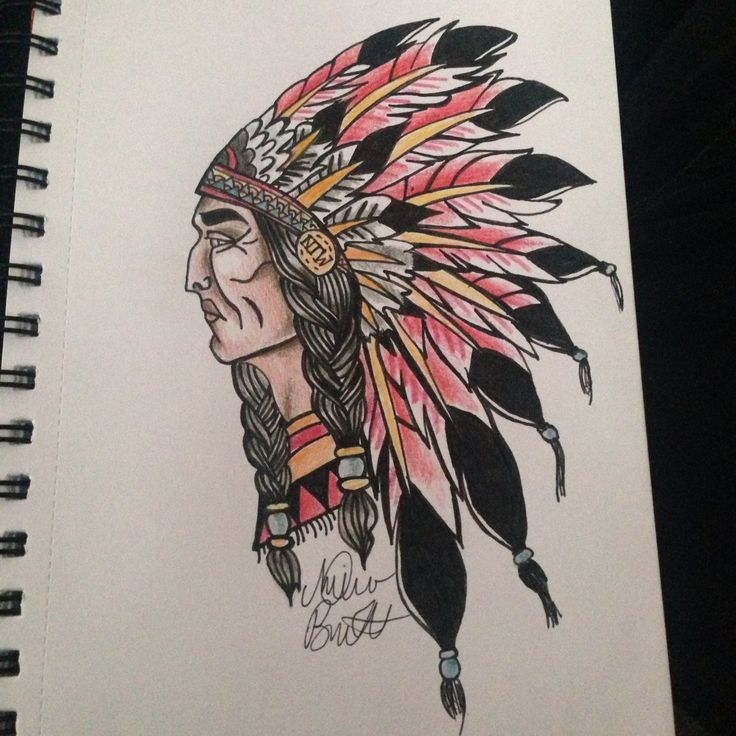 Old school Red Indian tattoo design.