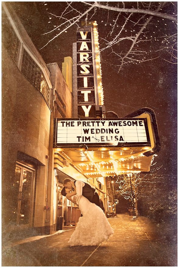 January wedding at the Loring Pasta Bar and Varsity Theater in Minneapolis, MN  Love this photo!  How creative and memorable for this couple.