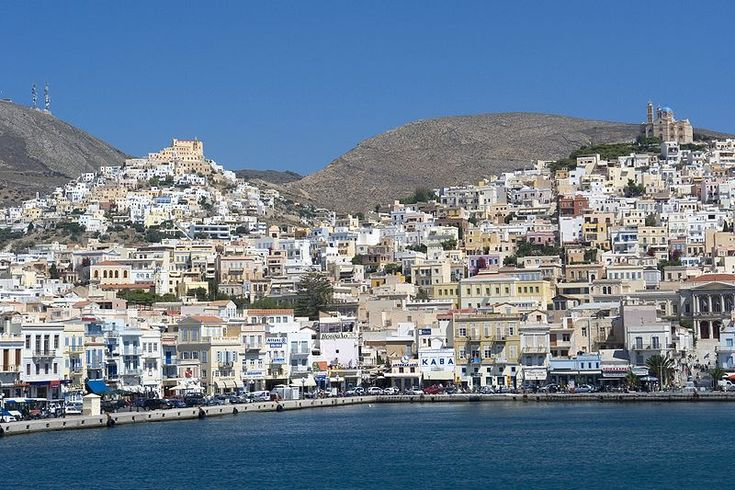 Syros (Greek: Σύρος) is a Greek island in the Cyclades, in the Aegean Sea. It is located 144 km south-east of Athens. The area of the island is 83.6 km² and it has 32,000 inhabitants today. The largest towns are Ermoupoli, Ano Syros and Vari. Ermoupoli is the capital of the island and of the Cyclades. It has always been a significant port town, and during the 19th century it was even more significant than Piraeus. [Here: Ano Syros, Syros]