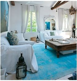 The Library: Living Rooms, Moroccan Decoration, Moroccan Interiors, Decoration Idea, Blue Rugs, White Rooms, Blue Bedrooms, Moroccan Styles, Blue And White