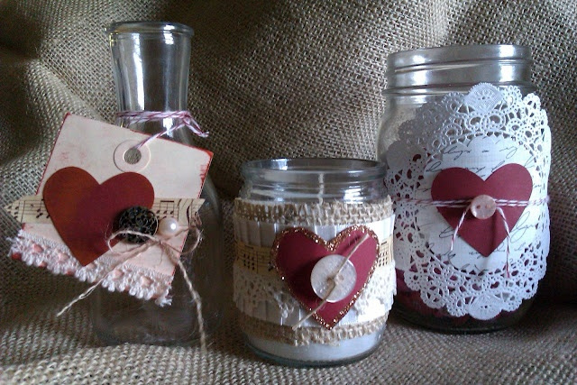 Valentine's Glass Trio  - inspired by some of the fabulous shabby looking Valentine's day cuteness.