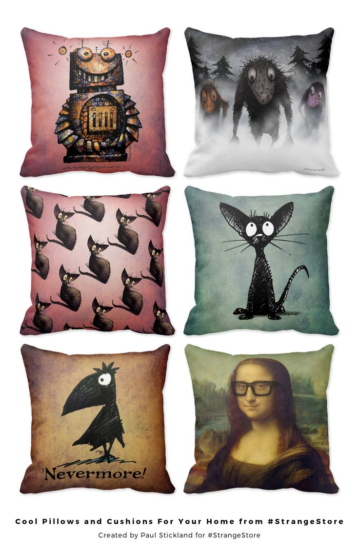 Cool modern patterned, floral and funny pillows for your unique home interior from Paul Stickland's #StrangeStore