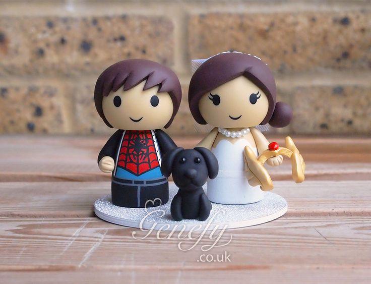 Spiderman groom and She-Ra bride wedding cake topper by GenefyPlayground  https://www.facebook.com/genefyplayground