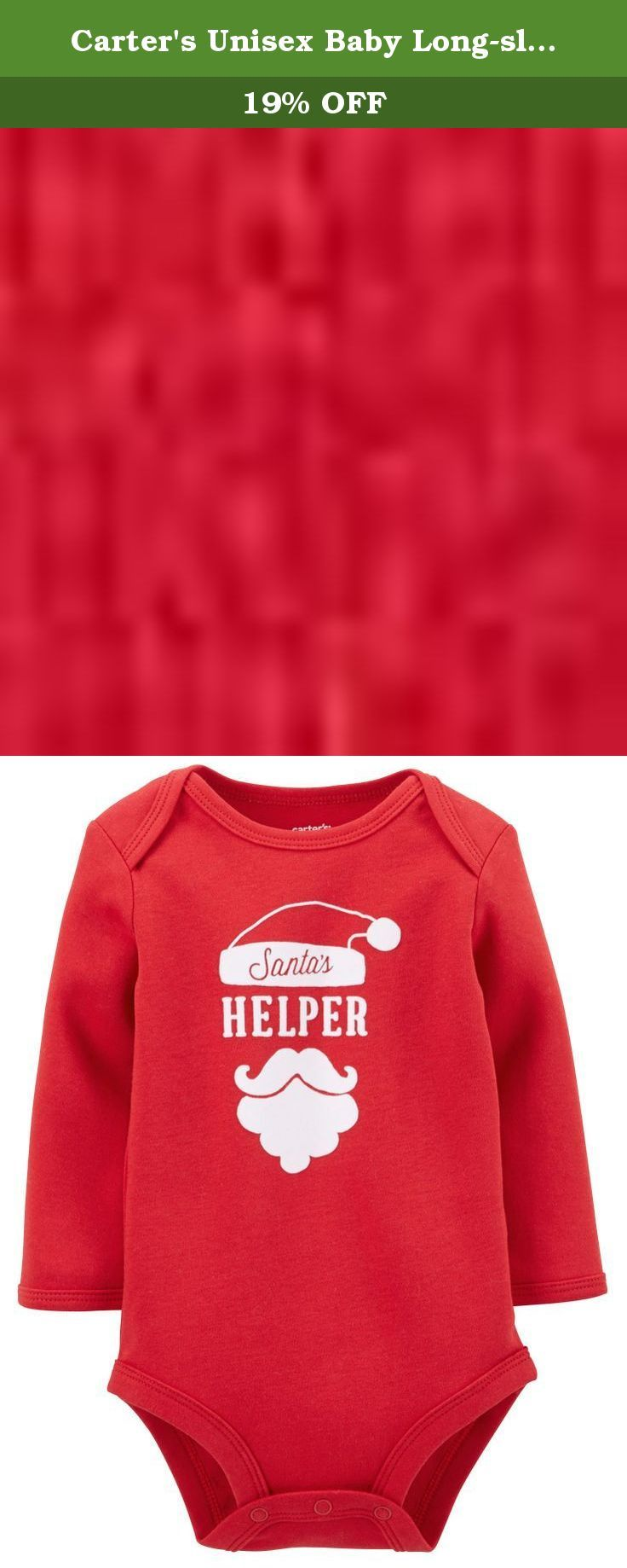Carter's Unisex Baby Long-sleeve Christmas Bodysuit (12 Months, Red/Helper). This bodysuit is the best for baby's first Christmas. The cute holiday graphics will be perfect for photo taking or family gatherings. Expandable shoulders for easy over-the-head dressing Nickel-free snaps on reinforced panel last through all of those diaper changes.
