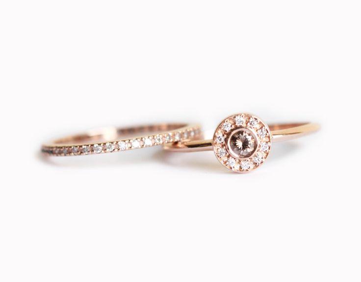 Rose Gold Ring Set, Rose Gold Diamond Set, Rose Gold Wedding Set, Halo Diamond Ring with Eternity Diamond Ring, 14k Rose Gold Diamond Band by MinimalVS on Etsy https://www.etsy.com/listing/245018412/rose-gold-ring-set-rose-gold-diamond-set
