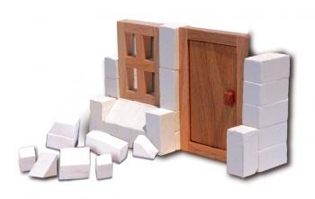 Construction kit with real bricks, to initiate or complete other buildings.The building blocks can be reused because the cement is dissolved in water. Contains: construction bricks, cement , wood building components, spatula, bowl, plate and a foam board with figures.