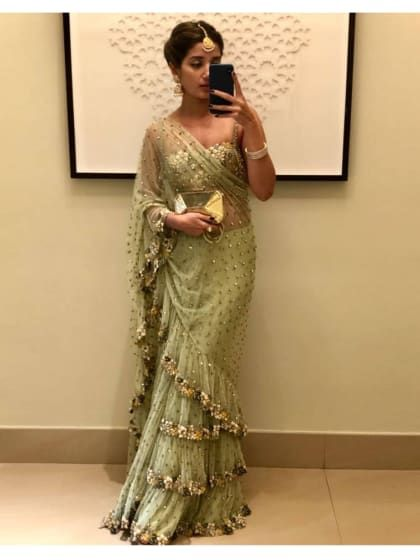5c9db75dc8d1c2 Latest Frill Ruffles Border Saree With Blouse in 2019