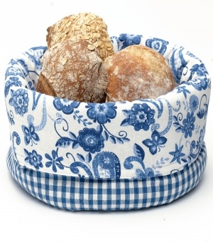 Ginger Blue Bread Basket--love this fabric combination