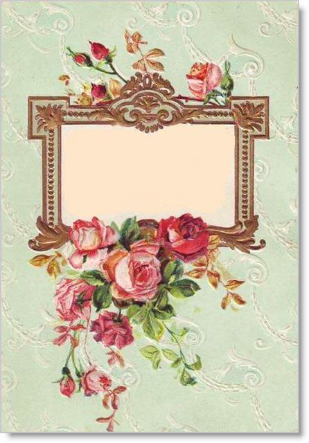 blank vintage card green frame: