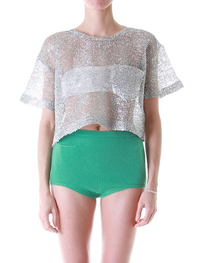 green cashmere panties and a silver crop top, just what the doctor ordered