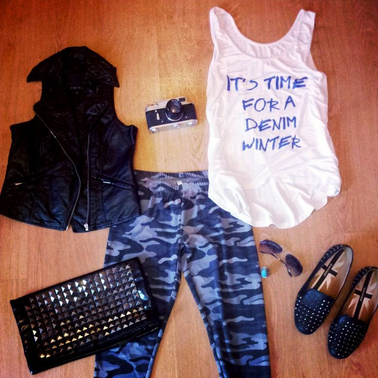 #summeroutfit #leather #studded #sunglass #camera #shirt #vest