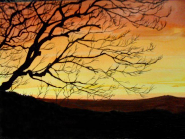 Paesaggio. Biro nera bic e acquerelli