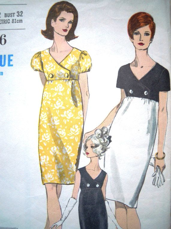 Vintage 1960s Vogue Rare Empire Double Breast Shift Dress Sewing Pattern B 32