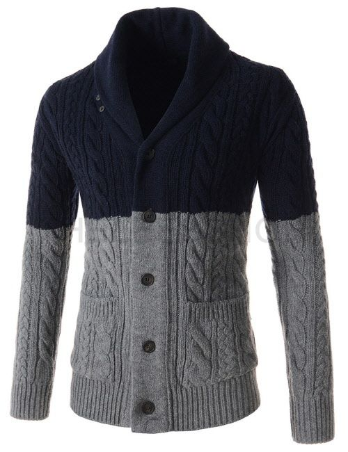 (SGC27-NAVYGRAY) Mens Slim Shawl Collar Two Tone Twisted Knitted Long Sleeve Cardigan