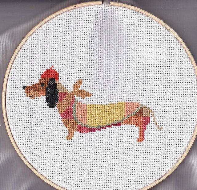 Cross stitch patchwork dachshund | kittykill