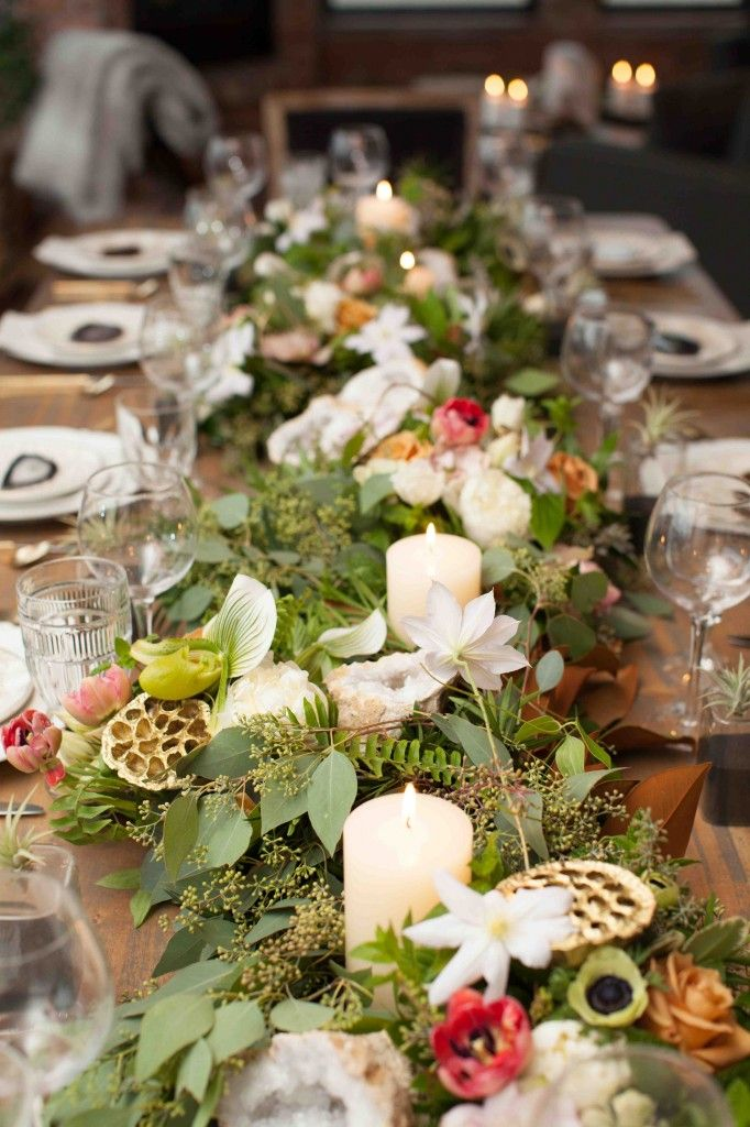 urban harvest party ideas non traditional thanksgiving dinner long garland centerpiece reign. Black Bedroom Furniture Sets. Home Design Ideas