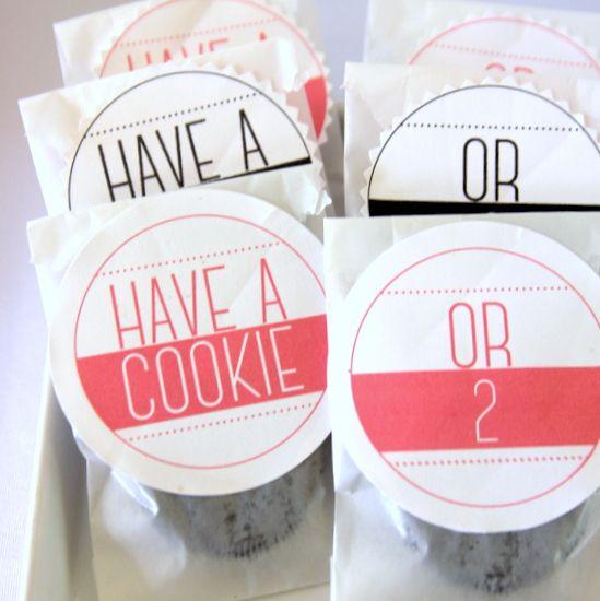 無料印刷可能なクッキーの好意のラベル 'クッキーまたは2を持っています」