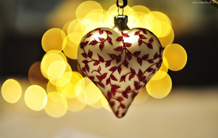Bombka, Serce, Żółte, Światła, Bokeh
