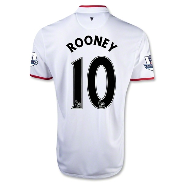 12/13 Manchester United #10 ROONERY away Soccer white Jersey